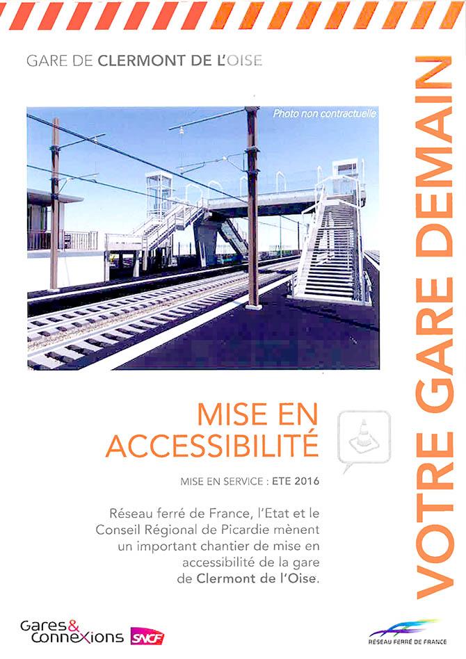 Gare de Clermont : mise en accessibilité pendant les travaux du 1er décembre 2014 à fin juillet 2016 - Clermont (Oise)