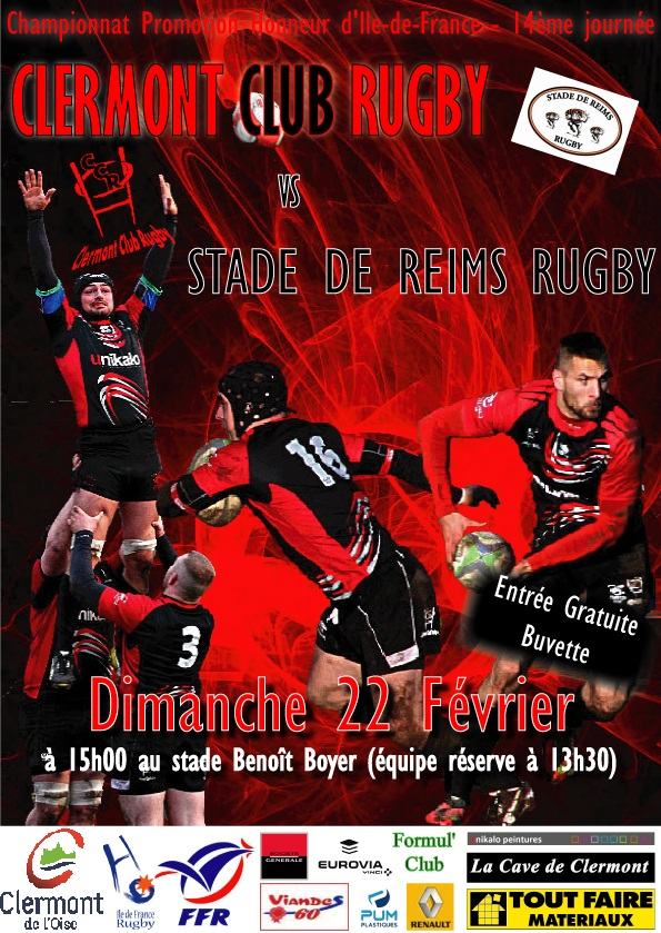 Clermont Club Rugby vs Stade de Reims Rugby, dimanche 22 février 2015 - Clermont (Oise)