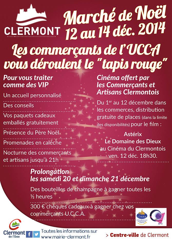 """Marché de Noël 2014 - Les commerçants de l'UCCA vous déroulent le """"tapis rouge"""" - Clermont (Oise)"""