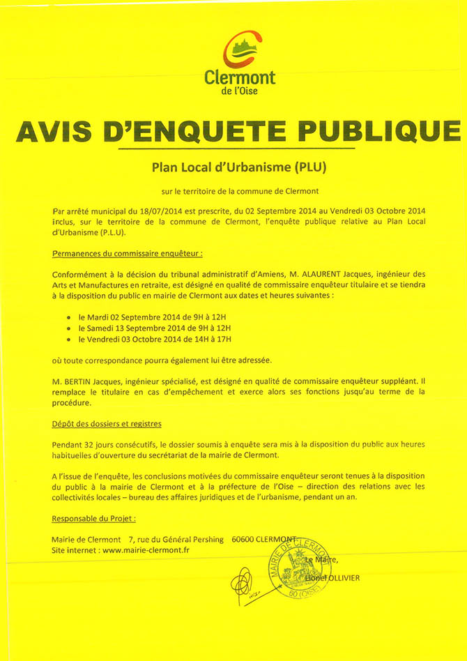 Plan Local d'Urbanisme : avis d'enquête publique - Clermont (Oise)