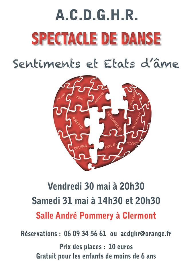 Spectacle de danse : Sentiments et États d'âme, vendredi 30 mai et le samedi 31 mai 2014 - Clermont Oise