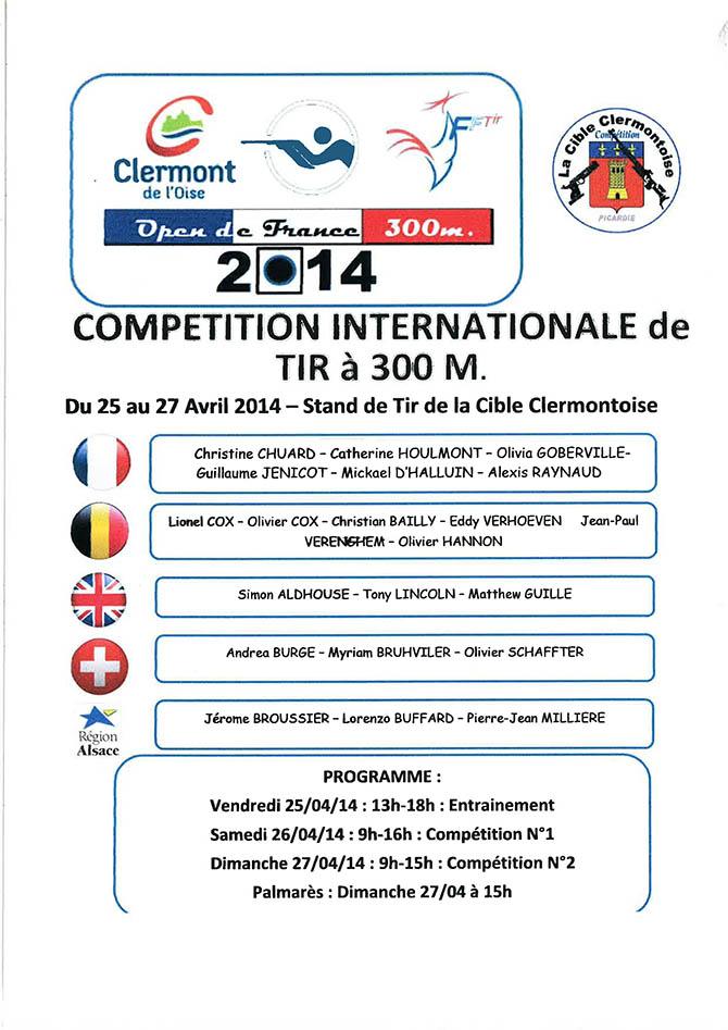 Compétition internationale de tir à 300M ,du 25 au 27 avril 2014 - Clermont Oise