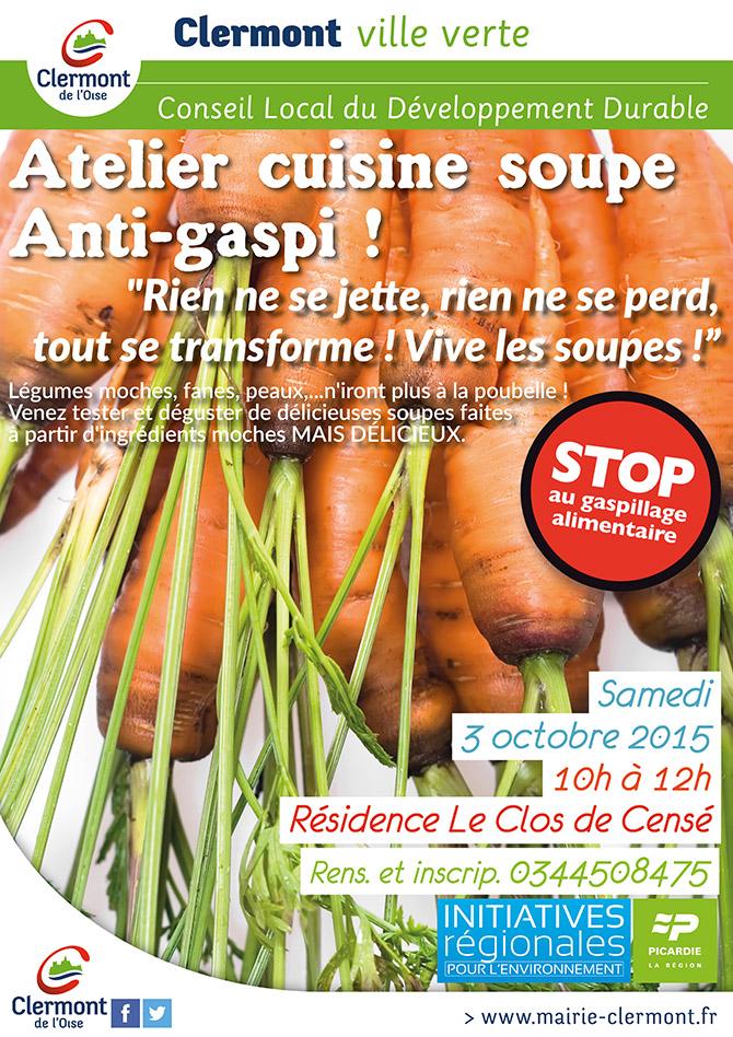 """Atelier cuisine soupe anti-gaspi - """"Rien ne se jette, rien ne se perd, tout se transforme ! Vive les soupes !"""", samedi 3 octobre 2015 - Clermont Oise"""