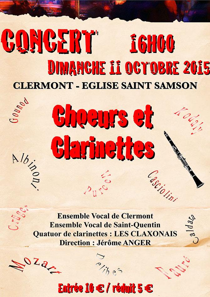 """Concert """"Choeurs et Clarinettes"""", dimanche 11 octobre 2015 - Clermont Oise"""