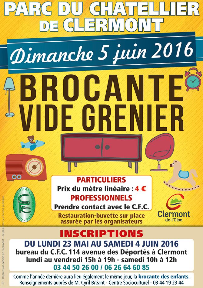 brocante vide grenier de clermont 2016 dimanche 5 juin site officiel de la ville de. Black Bedroom Furniture Sets. Home Design Ideas