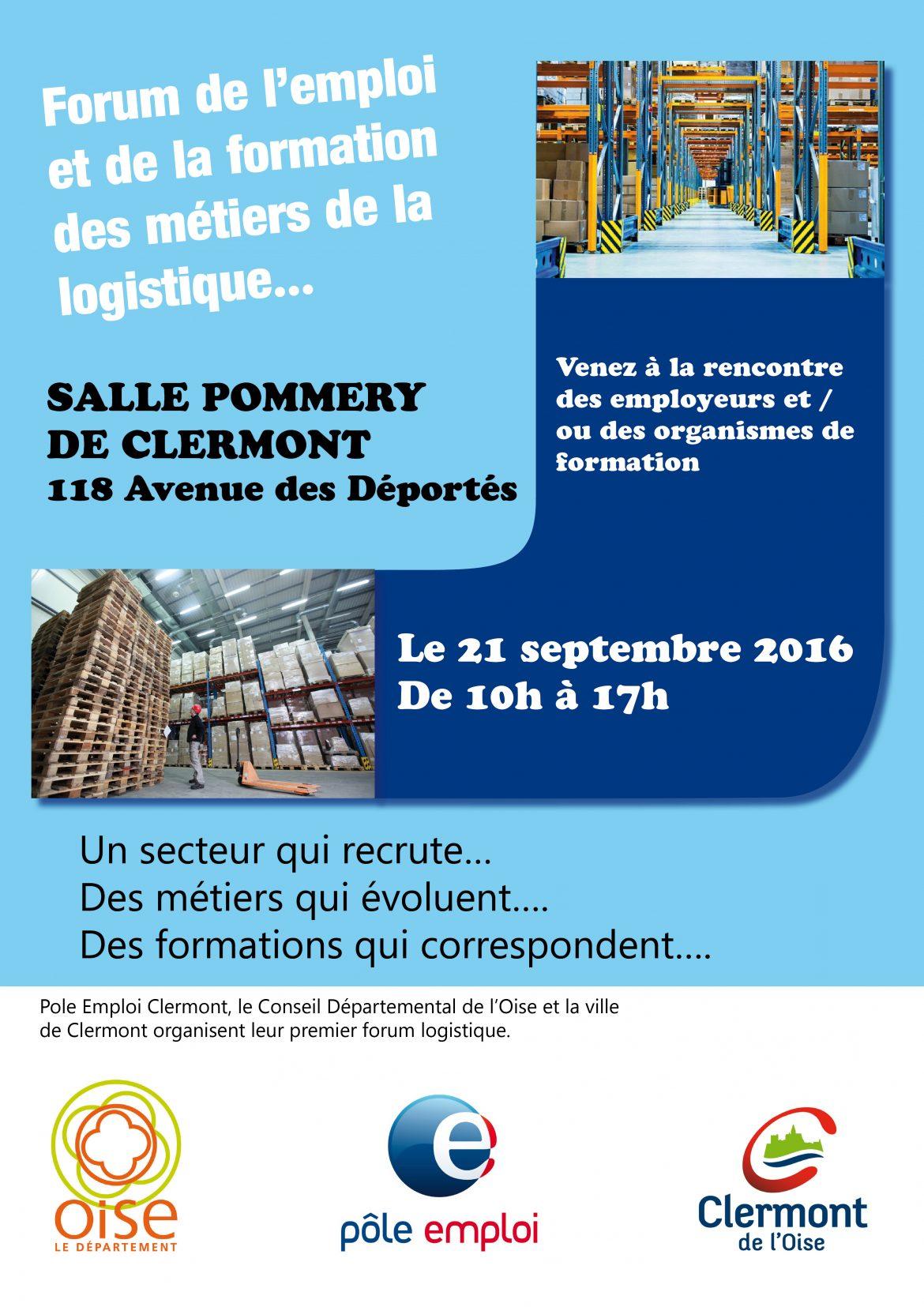 Forum de l'emploi et de la formation des métiers de la logistique, mercredi 21 septembre 2016, 10h à 17h, Salle des Fêtes André Pommery.