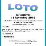 L'Association Fraternelle du Clermontois vous propose un Loto le vendredi 11 novembre 2016, Salle des Fêtes André Pommery, avenue des Déportés à Clermont, à partir de 14h (Ouverture des portes à 12h30).