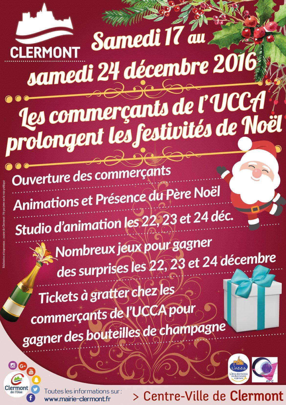 Les commerçants de l'UCCA prolongent les festivités de Noël 2016, du samedi 17 au samedi 24 décembre
