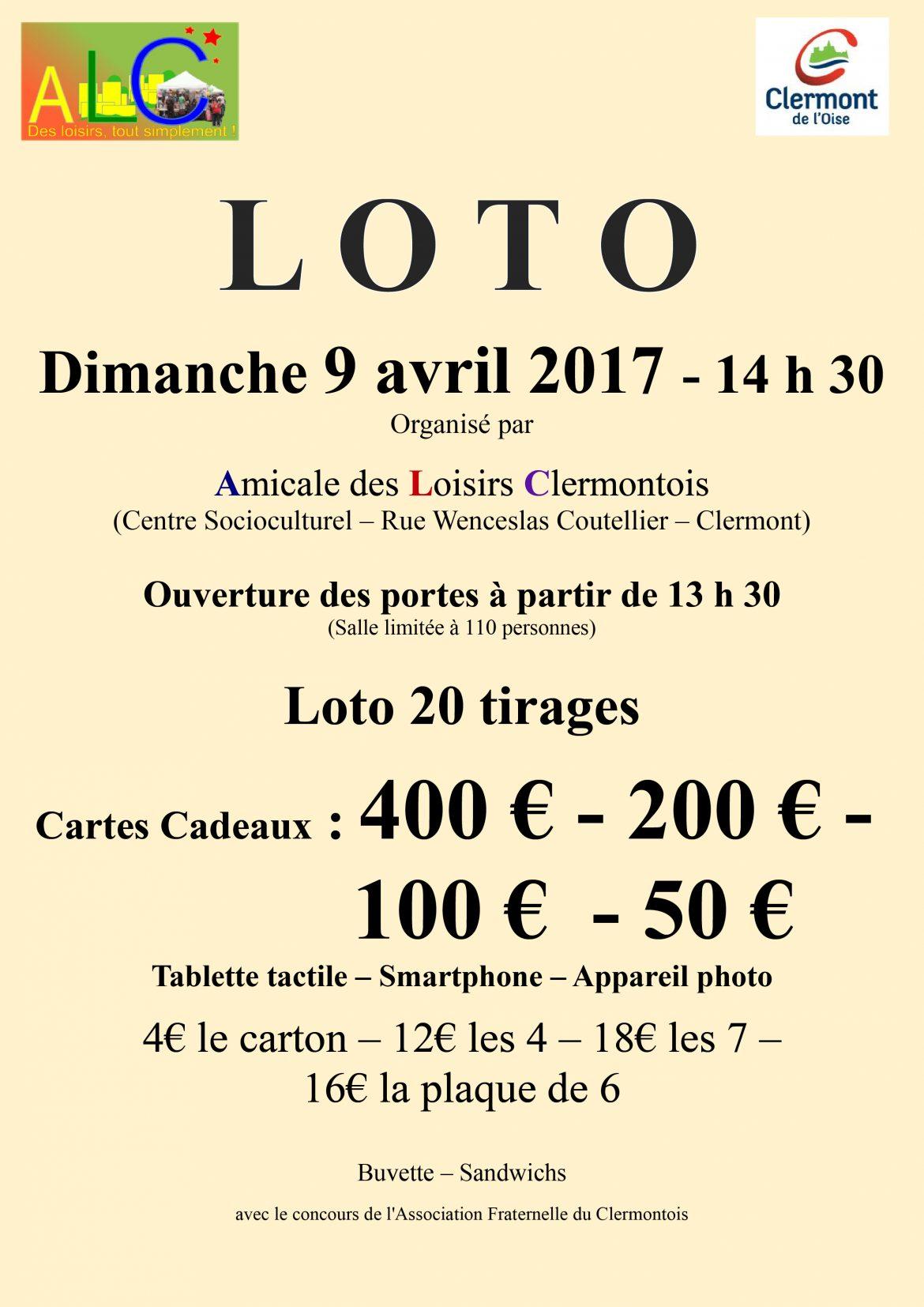 Amicale des Loisirs Clermontois - Loto, dimanche 9 avril 2017