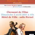 """L'Association des Parents et amis de l'Ecole de Musique du Clermontois, APEA-EMC, propose le dimanche 2 avril 2017, 17h, Salle Fernel de l'Hôtel de Ville, un concert """"duo piano et violoncelle""""."""
