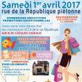 Braderie de Printemps de commerçants organisée par l'UCCA (Union Clermontoise des Commerçants et Artisans), le samedi 1er avril 2017, toute la journée, rue de la République.